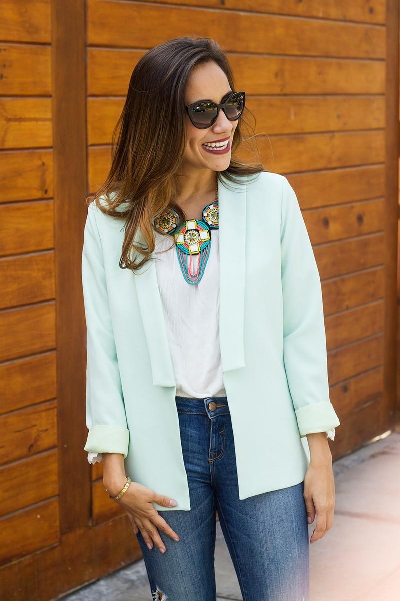 Combinación top: Blazer + collar