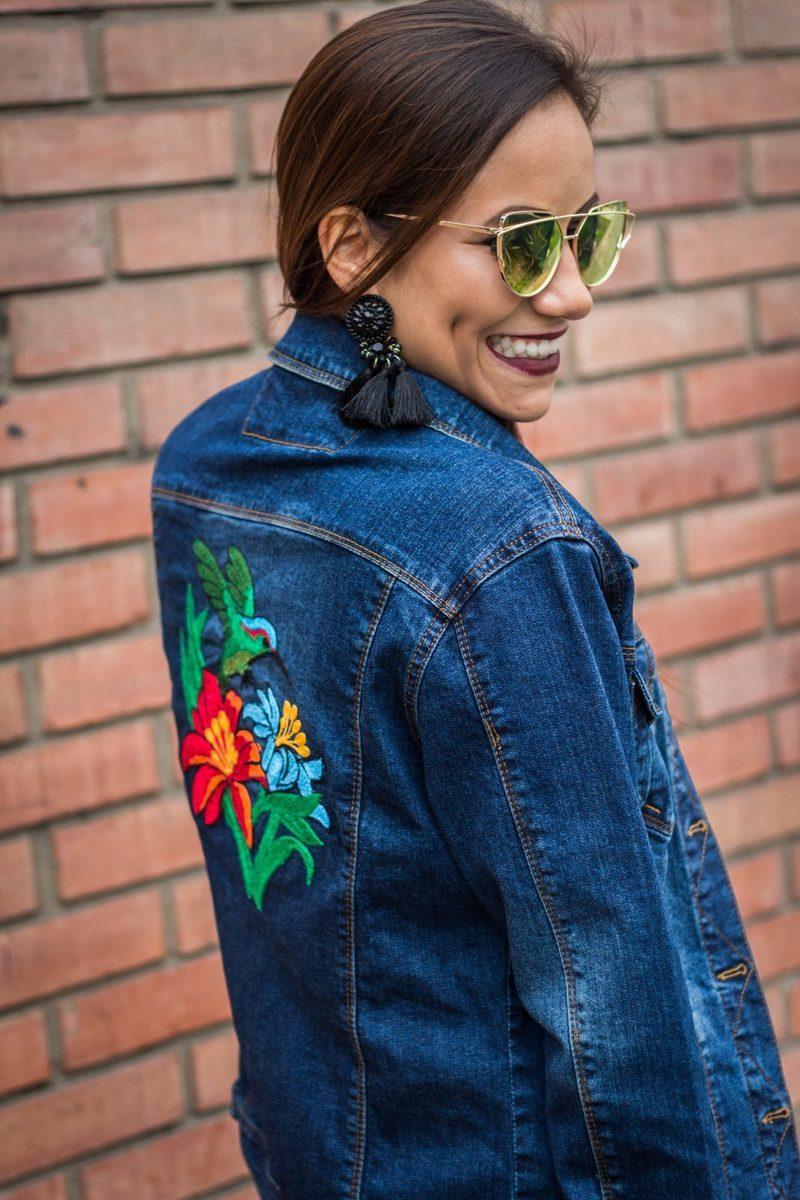 casaca de jean bordada